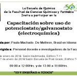 16 y 17.01.2018 Capacitación sobre uso de potenciostato/galvanostato (electroquímica)